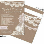 Rustic Lace Bunting Wedding Invitation additional 4