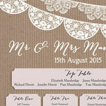 Rustic Lace Bunting Wedding Seating Plan additional 4
