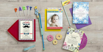 Colourful kids party invitations and stationery by Hip Hip Hooray home page