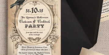 Vintage Antique Gothic Crow Halloween Wedding Party Invites Invitations Printable Printed by Hip Hip Hooray