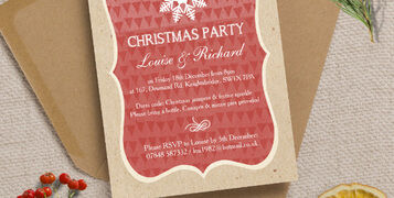 Personalised Christmas Festive Holiday Xmas Party Dinner Event Invitations Invites Printed Printable DIY Red Vintage Rustic Snowflakes Retro by Hip Hip Hooray