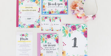 Maxeen Kim Photography - Hip Hip Hooray-Floral Flowers Bright Hand Painted Fun Wedding Invitations Stationery 1