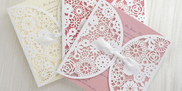 Personalised Lace Wedding Invitations Invites Laser Cut from UK Coral Ivory Peach Blush Pink