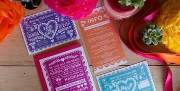 Mexican fiesta bright wedding reception table decor stationery invites invitations hip hip hooray.com