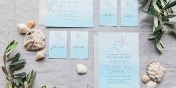 Blue Turquoise Tropical Watercolour Starfish Ocean Beach Wedding Stationery 8