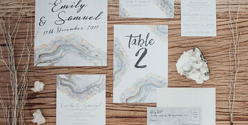 Crystal Agate Silver Grey Winter Wedding Inspiration, Invites and Stationery 3