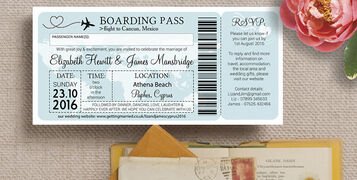 Cyprus Themed Wedding Cards Design Boarding Pass Style Themed Invites Invitations Hip Hip Hooray PID 619