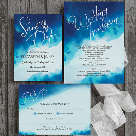 Blue Watercolour Wedding Stationery