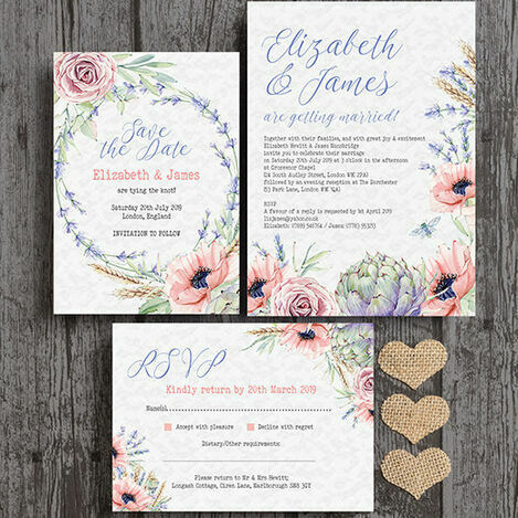 Country Flowers Wedding Stationery