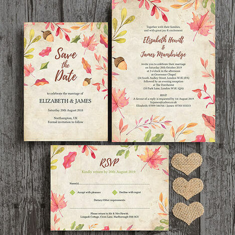 Autumn Leaves Wedding Stationery
