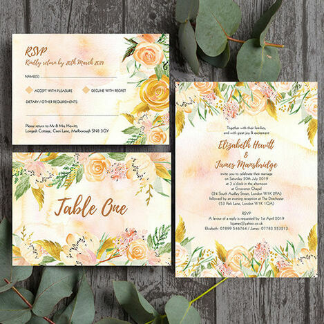 Gold Floral Wedding Stationery