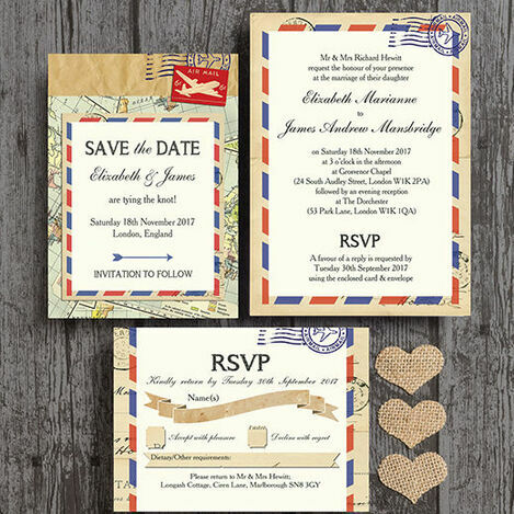 Vintage Airmail Wedding Stationery