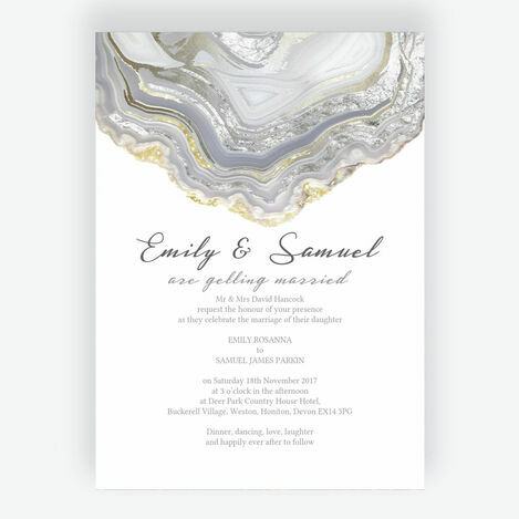 Silver Geodes Wedding Stationery