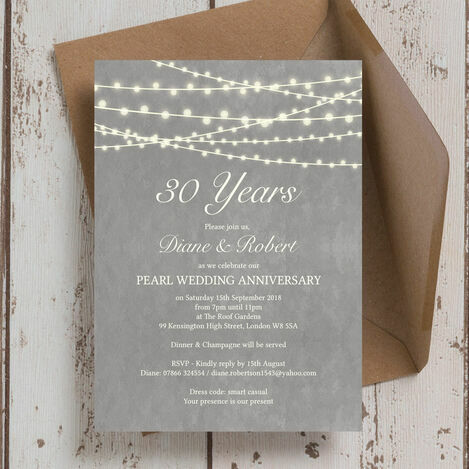 30th Wedding Anniversary Invitations