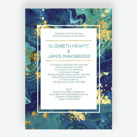 Teal & Gold Ink Wedding Stationery