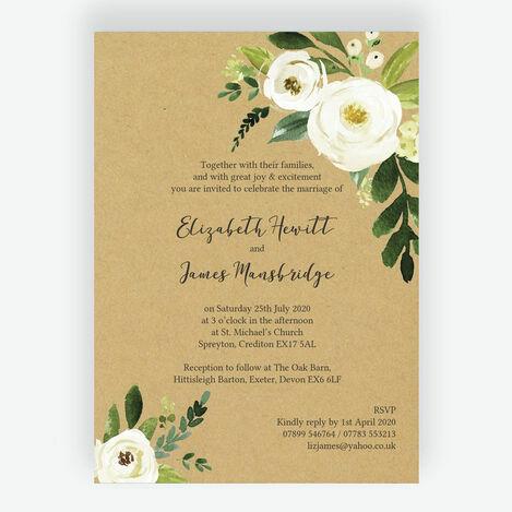 Cream Flowers Wedding Stationery
