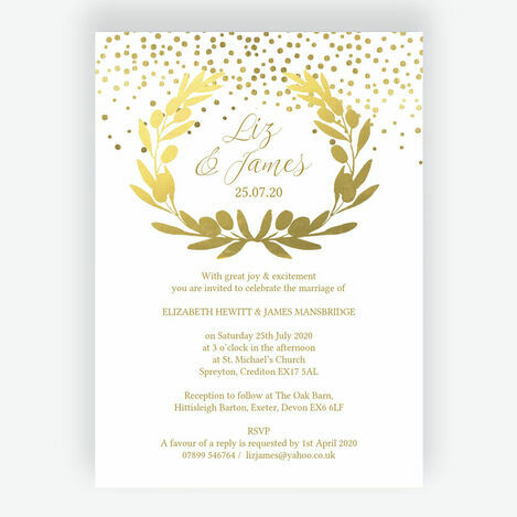Golden Olive Wreath Wedding Stationery