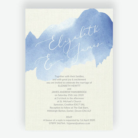 Pastel Blue Watercolour Wedding Stationery