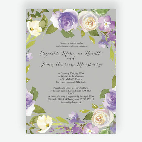 Pastel Lilac Flowers Wedding Stationery