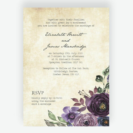 Purple Floral Wedding Stationery