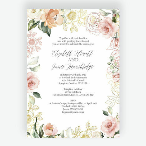 White, Blush & Rose Gold Floral Wedding Stationery