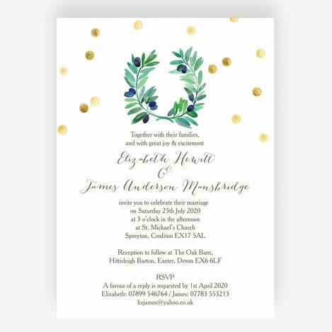 Olive Wreath Wedding Stationery