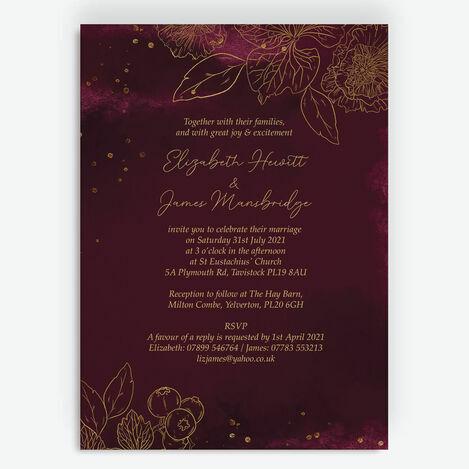 Burgundy & Gold Floral Outline Wedding Stationery