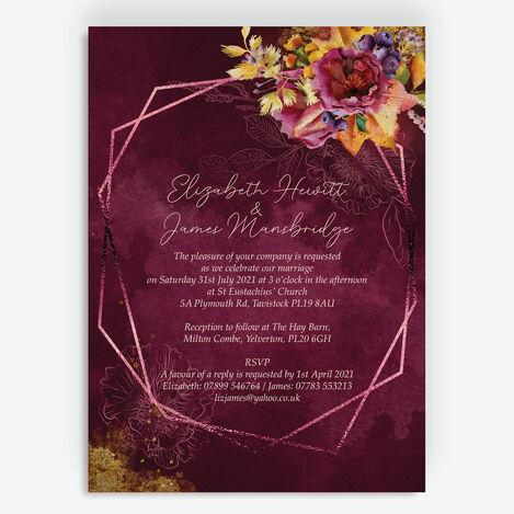 Autumn Burgundy Floral Wedding Stationery