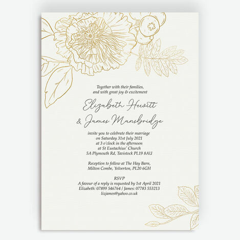 White & Gold Floral Outline Wedding Stationery