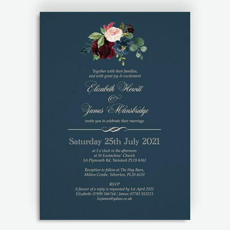 Navy, Burgundy & Blush Floral Wedding Stationery