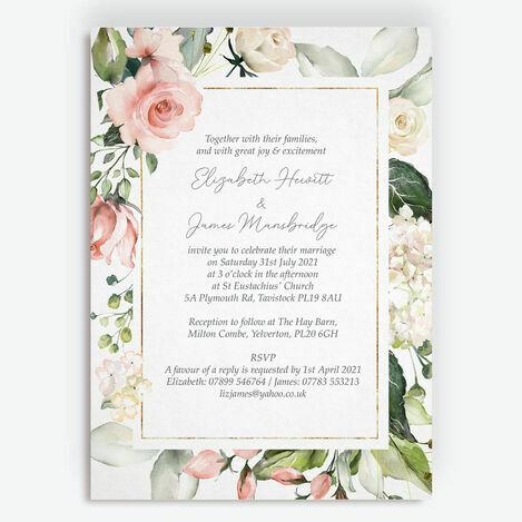 Blush & Gold Geometric Floral Wedding Stationery