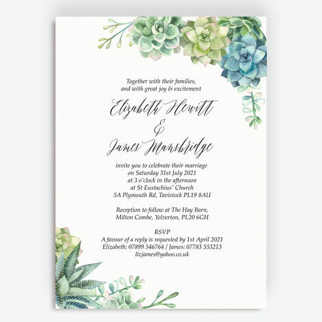 Watercolour Succulents Wedding Stationery