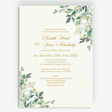 Gold & Greenery Geometric Wedding Stationery