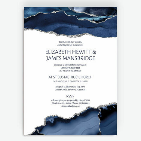 Navy Blue & Silver Watercolour Agate Wedding Stationery
