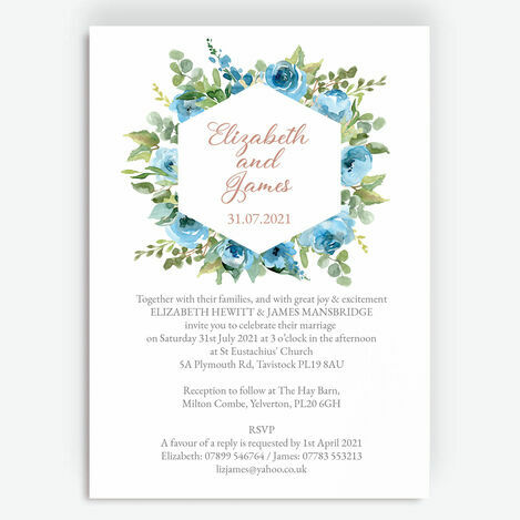 Blue & Copper Floral Wedding Stationery