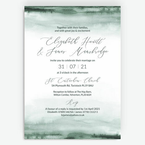Forest Green Watercolour Wedding Stationery