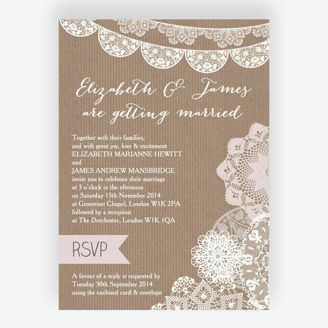 Rustic Lace Bunting Wedding Stationery