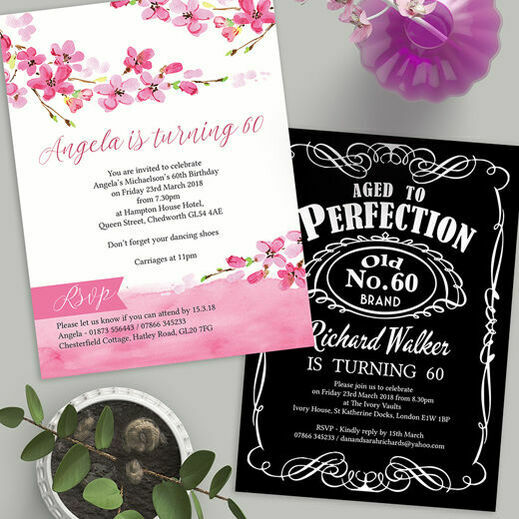Personalised 60th birthday party invitations filmwisefo