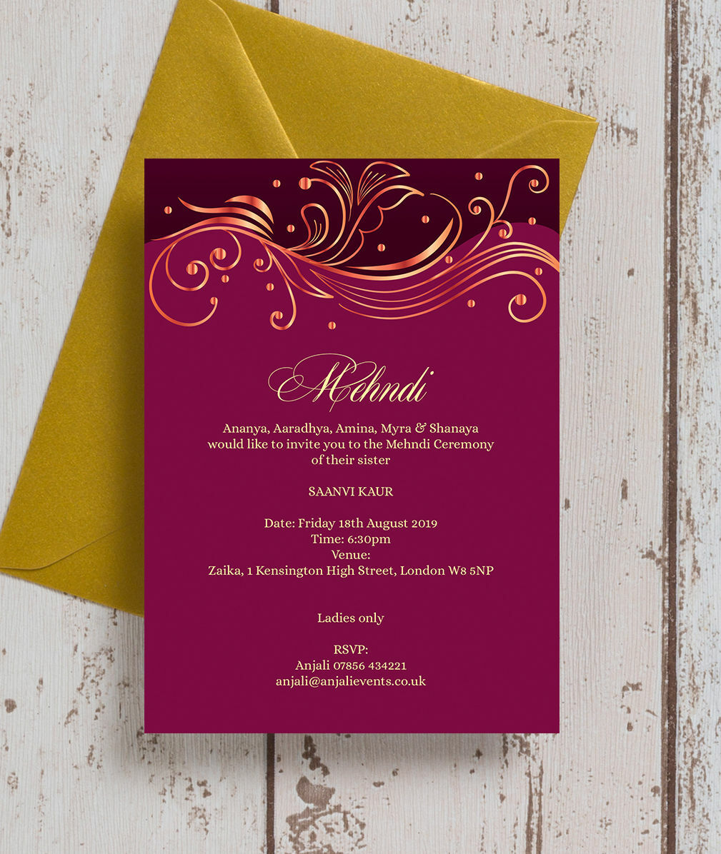 Personalised Mehndi Baraat Wedding Invitations Invites Cards eBay