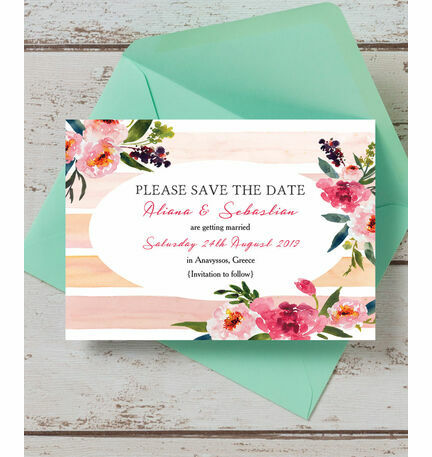 Pink Peony Watercolour Save the Date Card