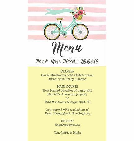 Spring pastels vintage bicycle wedding menu card from 100 each spring pastels vintage bicycle wedding menu card stopboris Image collections