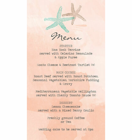Tropical Starfish Wedding Menu Card From  Each