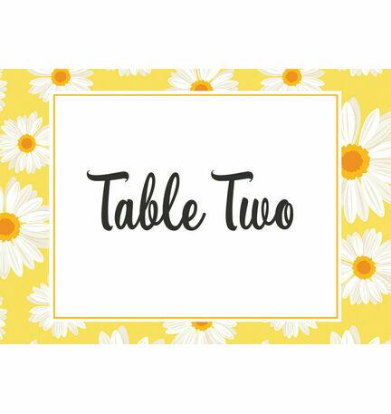 Yellow & White Daisy Wedding Table Name