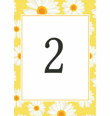 Yellow & White Daisy Wedding Table Number