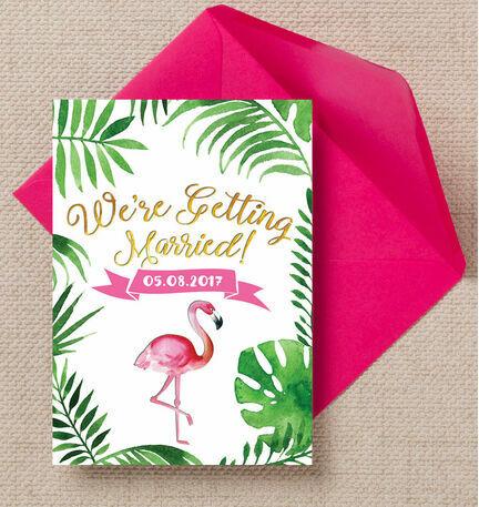 Flamingo Fiesta Tropical Wedding Invitation from 100 each