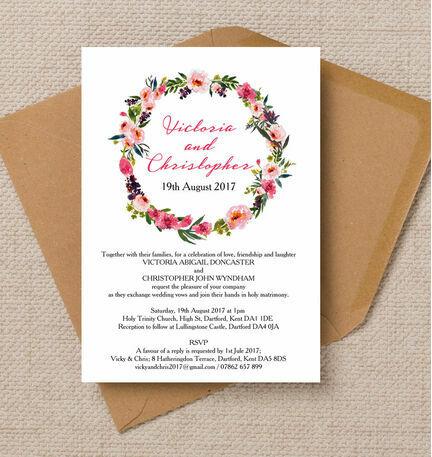 Pink Peony Watercolour Wedding Invitation