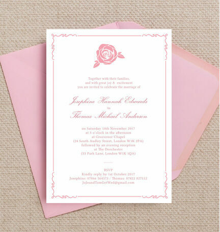 Classic Pink Rose Wedding Invitation