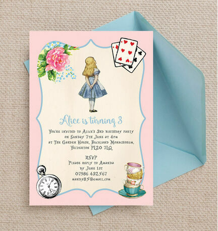 Pink blue alice in wonderland birthday party invitation from 080 pink blue alice in wonderland birthday party invitation stopboris Image collections