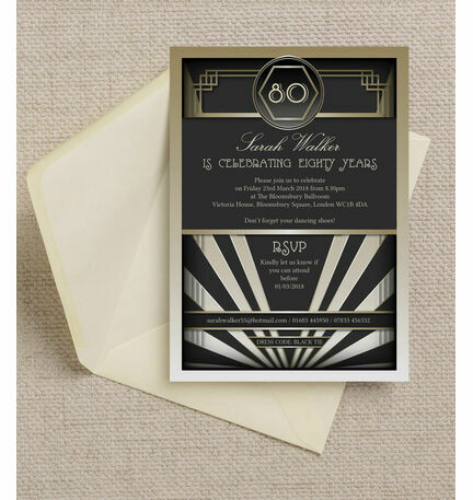 Black Gold Art Deco 1920s 80th Birthday Party Invitation from