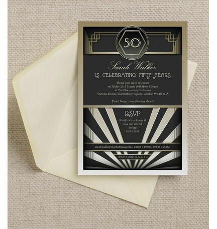 Black gold art deco 1920s 50th birthday party invitation from black gold art deco 1920s 50th birthday party invitation filmwisefo